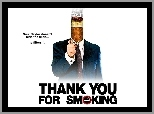 papieros, Thank You For Smoking, Aaron Eckhart, zapalniczka, plakat, garnitur